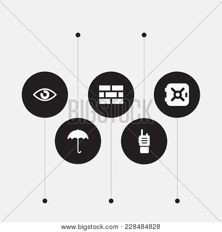 Set Of 5 Procuring Icons Set. Collection Of Ratio, Umbrella, Brick Wall And Other Elements.