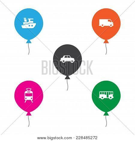 Set Of 5 Shipping Icons Set. Collection Of Car, Tram, Bus And Other Elements.