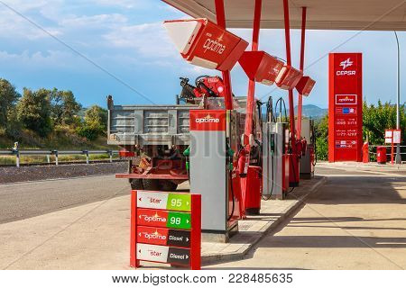 Detail Of A Cepsa Gas Station On A Small Country Road
