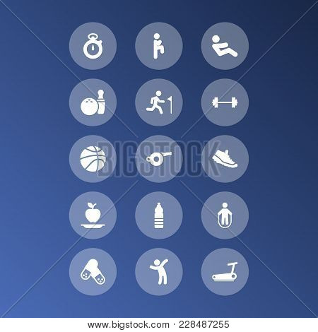 Set Of 15 Fitness Icons Set. Collection Of Pills, Stopwatch, Jump Training And Other Elements.