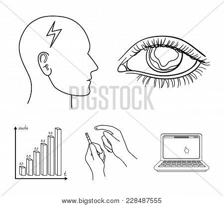 Poor Vision, Headache, Glucose Test, Insulin Dependence. Diabetic Set Collection Icons In Outline St