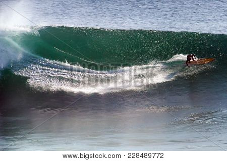 Image Of Surfer On Blue Ocean Big Mavericks Wave In California, Usa. Surfer Riding And Make Fast Tur