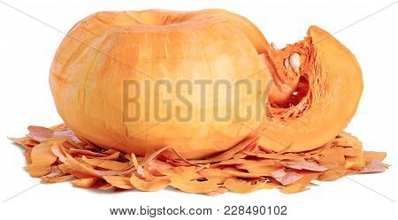 A Piece Is Cut From A Whole Fruit Ripe Orange Peeled Pumpkin With White Seeds. Horizontal Close-up L