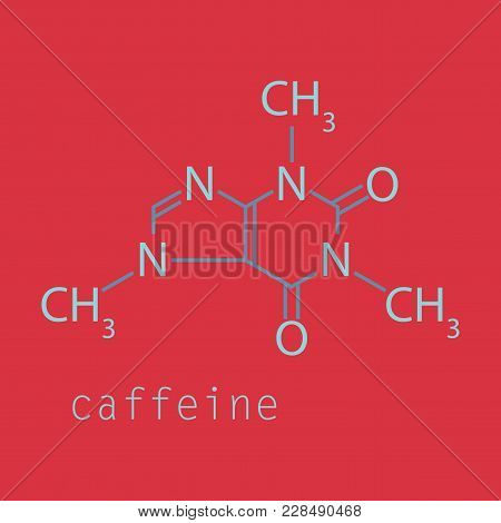 Caffeine Molecule Chemical Structure. Vector Illustration Background