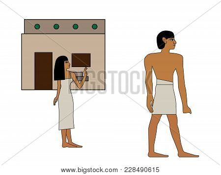 Ancient Egypt Man Goes To Work Illustration, Man At Work, Man And Woman , Egypt Murals, Ancient Egyp