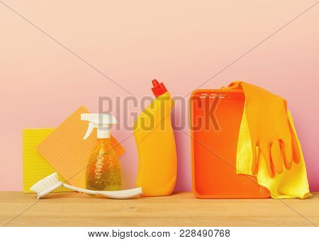 Colorful Group Of Cleaning Supplies For Natural And Environmentally Friendly Cleaning. Bottles, Towe