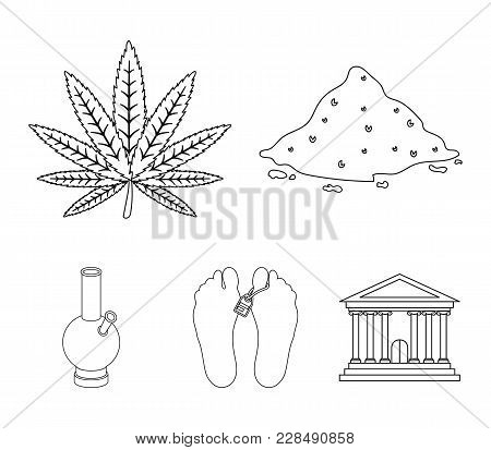 Hemp, Cocaine, Bong, Corpse In The Morgue. Drugs Set Collection Icons In Outline Style Vector Symbol