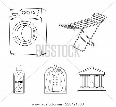 Dryer, Washing Machine, Clean Clothes, Bleach. Dry Cleaning Set Collection Icons In Outline Style Ve