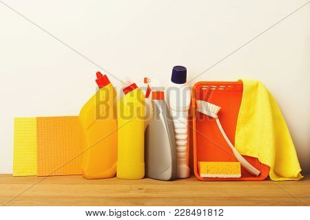 Colorful Group Of Cleaning Supplies For Natural And Environmentally Friendly Cleaning. Bottles, Rags