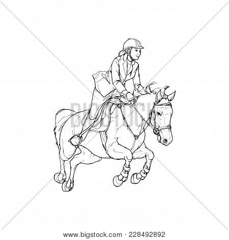 Female Rider Outline Black And White. Horse Riding, Vector Illustrations