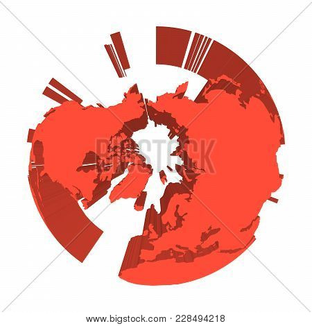 Earth Globe Model With Red Extruded Lands. Focused On Arctica And North Pole. 3d Vector Illustration