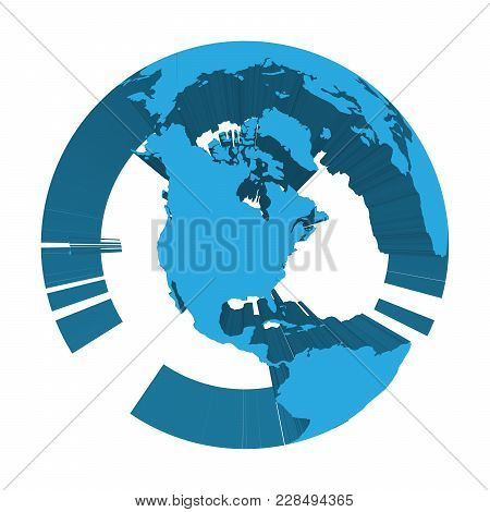 Earth Globe Model With Blue Extruded Lands. Focused On North America. 3d Vector Illustration.