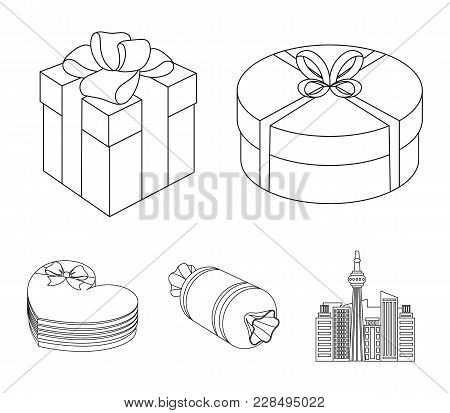 Gift Box With Bow, Gift Bag.gifts And Certificates Set Collection Icons In Outline Style Vector Symb