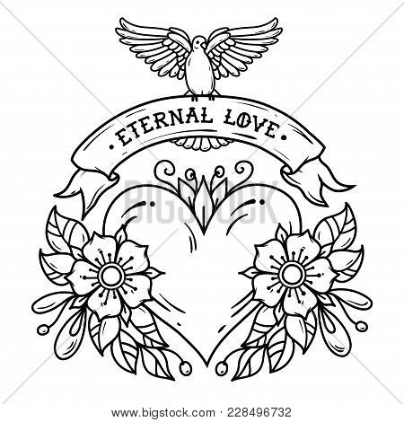 Red Heart With Flowers, Ribbon And White Dove. Eternal Love. Old School Tattoo. Holiday Illustration