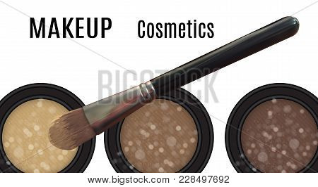Visage Of Make-up Artist With Picture Of Brush. Vector Illustration. Eps10