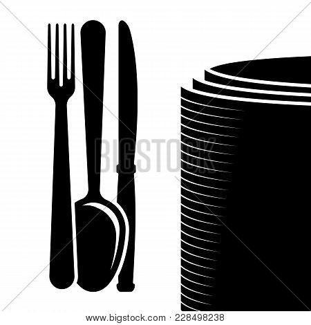 Logo Of The Company Or A Sign On The Topic Of Cutlery. Appointment For A Restaurant Or Cafe Menu. Bl
