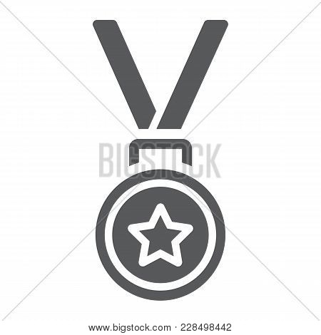 Medal Glyph Icon, Trophy And Award, Best Student Sign Vector Graphics, A Solid Pattern On A White Ba