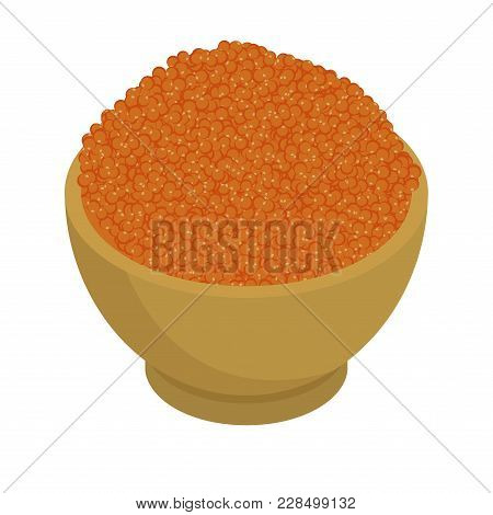 Red Caviar Isolated. Fish Caviar Delicacy Meal.
