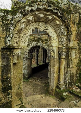 Parada Del Sil, Ourense Spain - December 28, 2017: Romanic Cloister Of The Benedictine Monastery Of