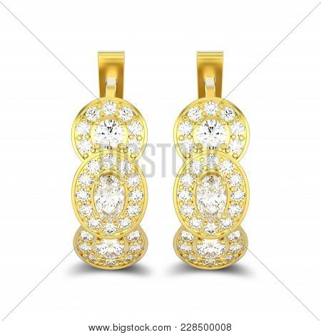 3d Illustration Isolated Yellow Gold Three Stone Solitaire Diamond Earrings With Hinged Lock With Sh