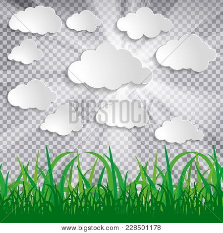 White Paper Clouds With Sun Rays And Grass Silhouettes On Chequered Background