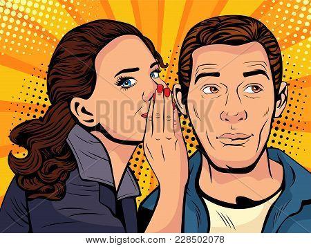 Woman Telling Secret To Man. Gossip And Rumors Talks. Vector Illustration In Retro Comic Style.