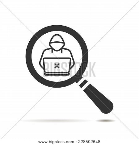 Flat Search Icon With Hacker Or Software Engineer Symbol On White Background. Magnifier Glass Icon W