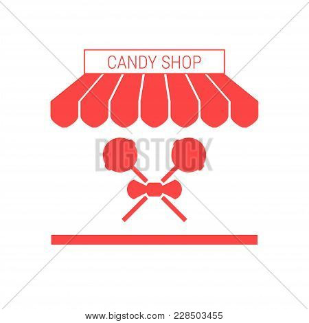 Candy Shop, Sweets Store Single Flat Icon. Striped Awning And Signboard. A Series Of Shop Icons. Vec