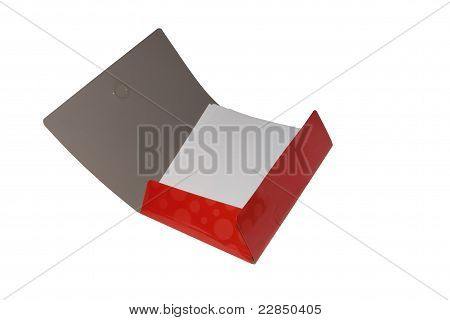 Red folder with paper