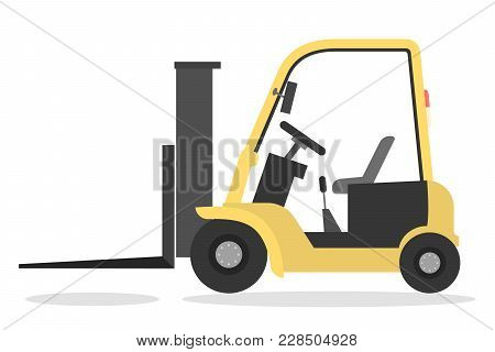 Isolated Yellow Electric Forklift On White Background.