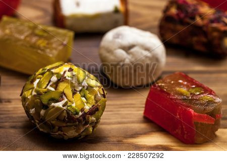 Selection Of Middle Eastern Desserts With Pistachio And Turkish Delight