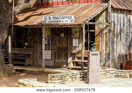 Luckenbach, Tx - January 11, 2018 -  The Oldest Building In Town Serving As A Combination Post Offic