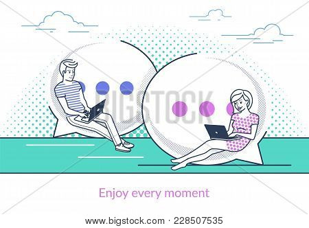Chat Talk Concept Vector Illustration Of Young Couple Using Messenger App For Laptop For Online Send
