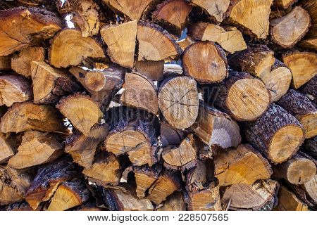Background With Stack Of Firewood Firewood Stack At Barbecue Pit