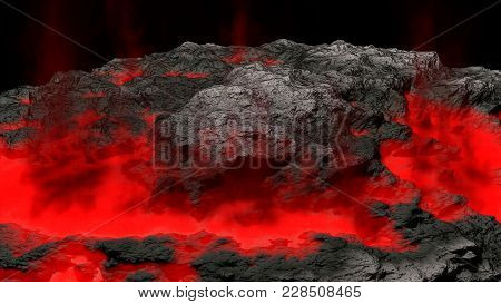 Lava Field And Glossy Rocky Land, 3d Illustaion