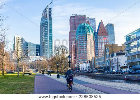 The Hague, The Netherlands - February 24 2018: Tall Buildings Of The Hague City Skyline On Sunny Day