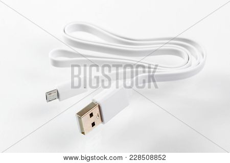 The universal usb cable on white background
