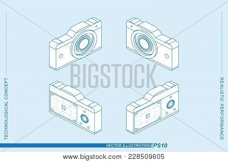 Set 3d Isometric Line Art Photo Camera Isolated On The Light Background. Camera With A Lens And A Di