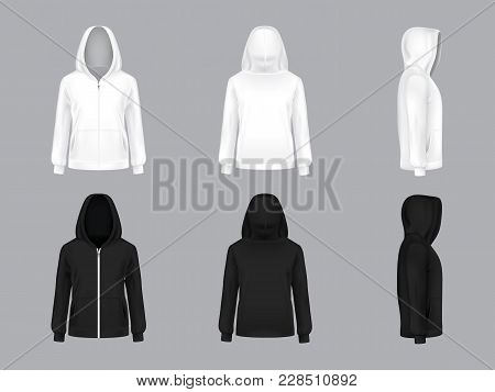Vector Realistic White And Black Hoodie With Long Sleeves And Pockets, Front, Back, Side View, Casua