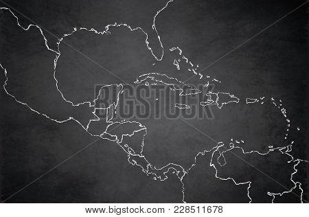 Caribbean Islands Central America Map,  Separate States, Blackboard Chalkboard Raster
