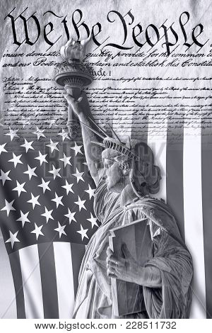We The People With American Flag And Lady Liberty In Black And White.