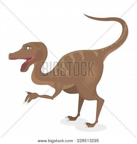 Velociraptor Dinosaur Isolated Ancient Creature On White.