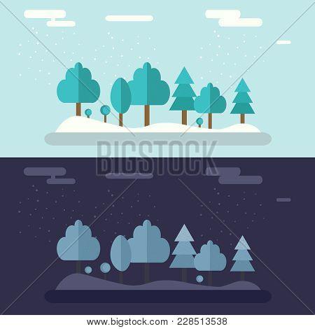 Set Of Winter Landscapes. Ski Resort Landscapes. Day And Night In Winter Forest. Beautiful Landscape