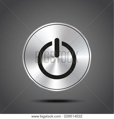 Vector Icon Power Metallic Isolated On Dark Background Eps 10