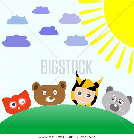 cute animals and baby boy tiger on nature