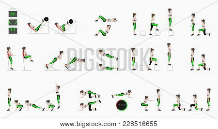 Set Of Sport Exercises. Exercises With Free Weight. Exercises In A Gym. Leg Lifts, Squats, Push-ups,