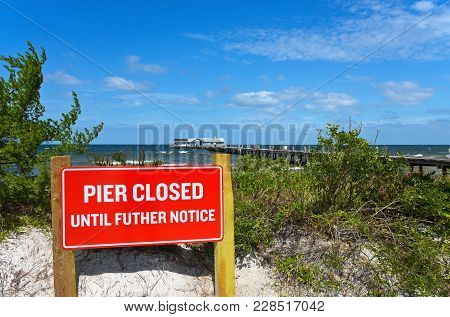 Anna Maria, Fl - October 2,  2017: Anna Maria Historic Pier Is Closed After Being Extensively Damage