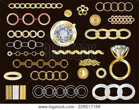 Realistic 14k Gold, White Gold, Rose Gold & Silver Jewelry Vector Collection