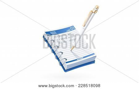 Ball Pen Write In Notebook. Business Notice. Stationery Tool. Isolated White Background. Eps10 Vecto
