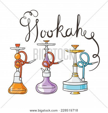 Hookah Doodle Set. Calabash Icons Of Various Shapes. Vector Collection